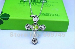 2012 Novel fashion four leaf clover itanium cross necklace amber+different shapes+jewelry wholesale and dropship+free shipping(China (Mainland))
