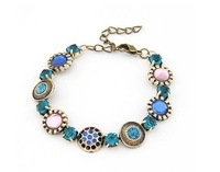 Bracelet Jewelry Supplier Designs Rhinestone Antiquated Charm Turquoise Bracelet
