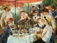 Linen Canvas Oil Painting,Luncheon of the Boating Party by Pierre Auguste Renoir oil painting,20x28'',Free Shipping,100%handmade