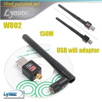 Freeshipping strong Mini 150M USB WiFi Wireless Network Card 802.11 n/g/b LAN Adapter with Antenna W802