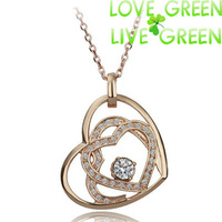 Free Shipping New Arrival Hotselling 18K Gold Plated Austrian Crystal double Rhinestones Heart Pendant Necklace jewelry sets 161