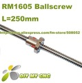 16mm RM1605 Ball screw L=250mm*1pcs with 1pcs SFU1605 single ballnut without end machining for Built CNC Machine