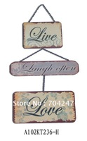 wholesale cheap crafts three pieces metal sign board with iron chain