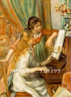 Linen Canvas Oil Painting,Girls at the Piano by Pierre Auguste Renoir oil painting reproduction,Free DHL  Shipping,100% handmade
