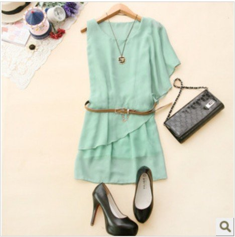 Free Dress Patterns  Women on Sleeve Chiffon Dress Women Green Pink Black Summer Dress Free Shipping