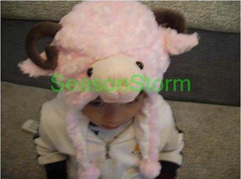 Retail Plush Cartoon Sheep Ear Muff Hat / Halloween Winter Cap White Color