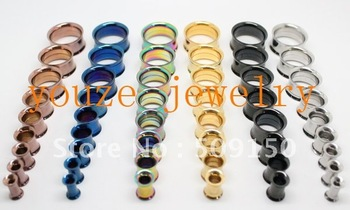 Mixed 10 Sizes *6 Colors Vacuum Plating Titanium Screw on Double Flare 316L Stainless Steel Ear Piercing Ear Plug Flesh Tunnel