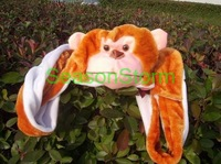 Min Order $20 (mixed order) Retail Plush Cartoon Monkey Hat With Scarf And Gloves / Halloween Winter hoody scarf (SL-33)
