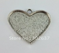 6 Tibetan Silver Heart Pendant Setting Blanks 56x37mm A11695