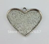 6 Tibetan Silver Heart Pendant Setting Blanks 56x37mm A11695