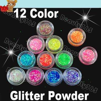 Free Shipping High Quailty 12 Colors Nail Art Glitter Shine Acrylic Powder Fine Dust Set 1556