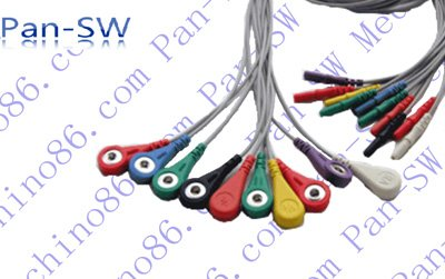 Holter 10 lead ECG leadwire , connector: DIN ten leadwire, electrode terminal: 4.0 snap,TPU jacket(China (Mainland))