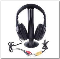 Freeshipping 5 in 1 HIFI Wireless headphone Earphone Headset wireless Monitor FM radio for MP4 PC TV audio