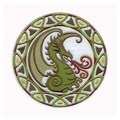 "3"",emb. area over 80%,100pcs/bag,MOQ50pcs,Celtic Dragon patch,merrow or flat broder,PVC backing,welcome customized,free shipping"
