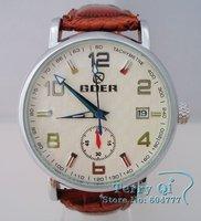 GOER Mens White Brown Date Wristwatch Fashion watch Automatic mechanical Watch+Gift Box Free Ship