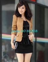 hot selling!Free shipping!women&amp;#39;s stylish coat,ladies&amp;#39; short style suit,knit+acrylic fibers,kahki,with bowtie back,1 pcs/lot