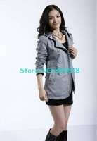 2012 HOT!Free Shipping Ladies&amp;#39; Double-Breasted Windbreak/Women&amp;#39;s Blue Pure Cotton Golilla Wind Coat,1Pcs/Lot
