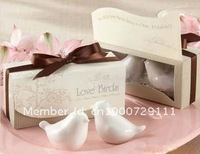 Free Shipping High Quality Ceramic Love Birds Salt and Pepper Shaker Wedding Favors and Gifts For Guest