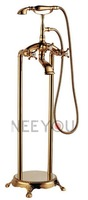 Gold Floor Wount Phone Faucet With Hand shower Free standing Bathroom mixer tap 51011 Free Shipping