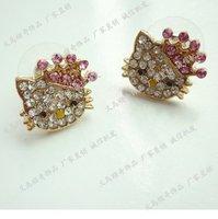2012 HOT SALE fashion hello kitty crysal earring+Free shipping
