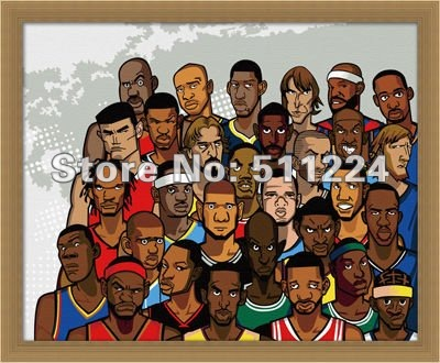 Basketball tribe, DIY digital painting by numbers kits, 40x50cm, zoo wall deco picture, Free Shipping! kids room decoration(China (Mainland))