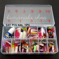 FREE SHIPPING 540 Pcs 27 Color French False Acrylic Gel Nail Art Tips Half with Box Salon Set, No.HC-NailTips01-HalfColorful*540