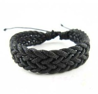 Bracelet Jewelry Supplier Fashion Personalized Braid Black Bracelet  men &amp;amp; women Wrap Leather Bracelet