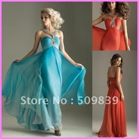 2012 Fashion Holiday Promotion Forever Hot Spaghetti Strap Floor length Chiffon Beading Long Cheap Prom Evening Party Dresses