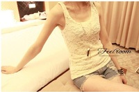 Free Shipping~lace hollowing carved small harness vest top