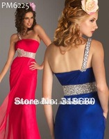Chiffon Sheath/Column Jewelry Beaded One Shoulder Sequins Royal Blue Empire Waist Evening Dresses