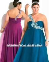 Teal A-line Empire Waist Jewelry One Shoulder Full length Chiffon Plus Size Evening Dress