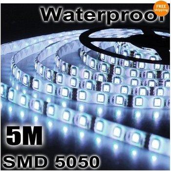 Wholesale 5M/Reel SMD 5050 waterproof 72W Pure White/Warm White LED Flexible Strip Light 60LED/meter 300LED 5 meter/lot