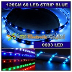 Free shipping + wholesale + best offer + 10pcs/lot + Blue Color Car 120cm 60 0603 LED Waterproof Flexible Car Strip Light Led(China (Mainland))