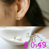 Min.order is $10 (mix order) Fashion Earring.Metal Pearl Stud Earrings Love 2 Colors Earring Korean Style Free shipping Ke018