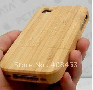 1pcs Genuine 100% Natural Bamboo Wood handmade Hand-Carved Wooden Case Cover for iPhone 4