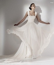 Elie saab couture chiffion Lace trian wedding dress(China (Mainland))