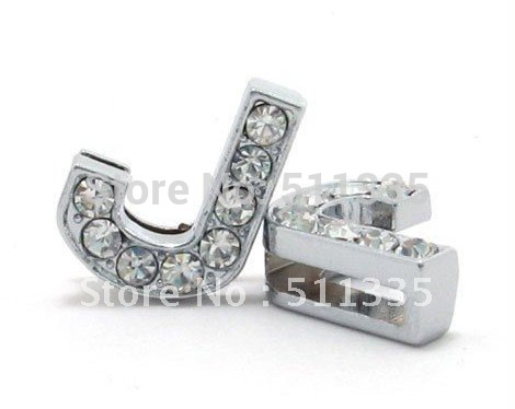 Wholesale 50pcs 8mm J full rhinestone slide letter DIY accessories fit for 8mm bracelet Pet Collar free shipping(China (Mainland))