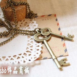 Min order 12pcs/lot mix available,Retro bronze key necklace,4022.3103A.Free shipping