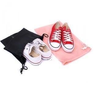Sales Crazy! 2 pcs of 100% Nylon Shoes Bag with string closure (pink/black) 26*38cm 2pcs/set 5set/lot(China (Mainland))