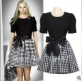 2013 Summer new women The plover mosaic Butterfly Plaid Puff Sleeve Dress