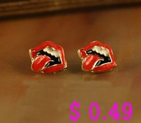Min.order is $10 (mix order) Fashion Earring.Metal Tongue Stud Earrings Antique Earring Free shipping Ke073