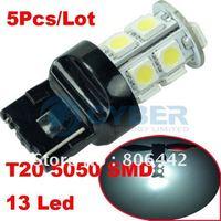Wholesale 5Pcs/ Lot T20 5050 SMD 12V Xenon White 13 LED Car Tail Brake Light Bulb Backup Wedge Lamp Free Shipping