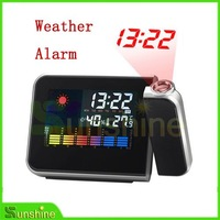 New Arrival ! Free Shipping LCD weather station Projection alarm clock +Temperature/humidity+Calender +Alarm + snooze function