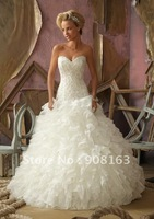 2012 Hot Style ! Fashion Floor Lenght Ball Gown Organza Royal Wedding Dresses with Crystal Beaded Embroidery with Ruffled Skirt