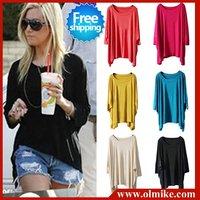 Free shipping sale women's lady's Eur style 2012 summer loose Long T shirt irregular hem modal tees large sz tee shirts SWS108