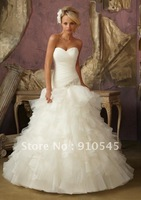 Diamante Applique on Ruffled Organza and Tulle Ball Gown Dresses Wedding 2012 Bridal Gowns