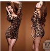 FREE SHIPPING  2012 Lycra leopard sexy mini skirts and  sexy dress party club dress,long sleeve dress    + Real picture show
