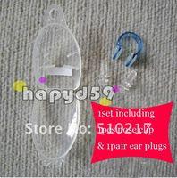 swimming 1pair Silicone swim earplugs & 1pcs soft TPE swimming nose clip