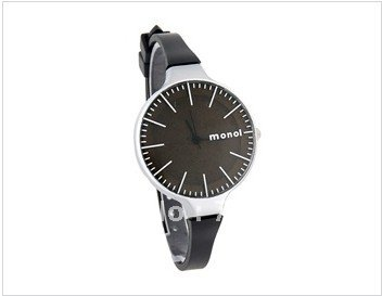 MONOL 6318 Round Mirror Dial Slim Plastic Band Women's Wrist Watch (Black)(China (Mainland))