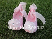 6pairs/lot  special occasion pink  Wedding flower girl shoes infant toddler,Mary Jane Christening walking baby shoes(China (Mainland))
